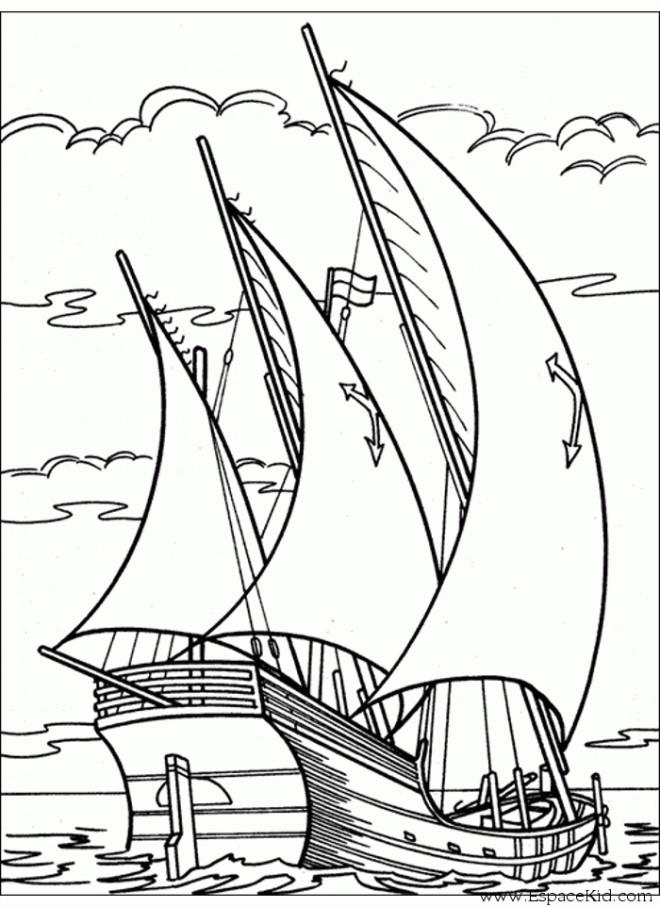 Coloriage bateau voile de guerre dessin gratuit imprimer - Voilier dessin ...