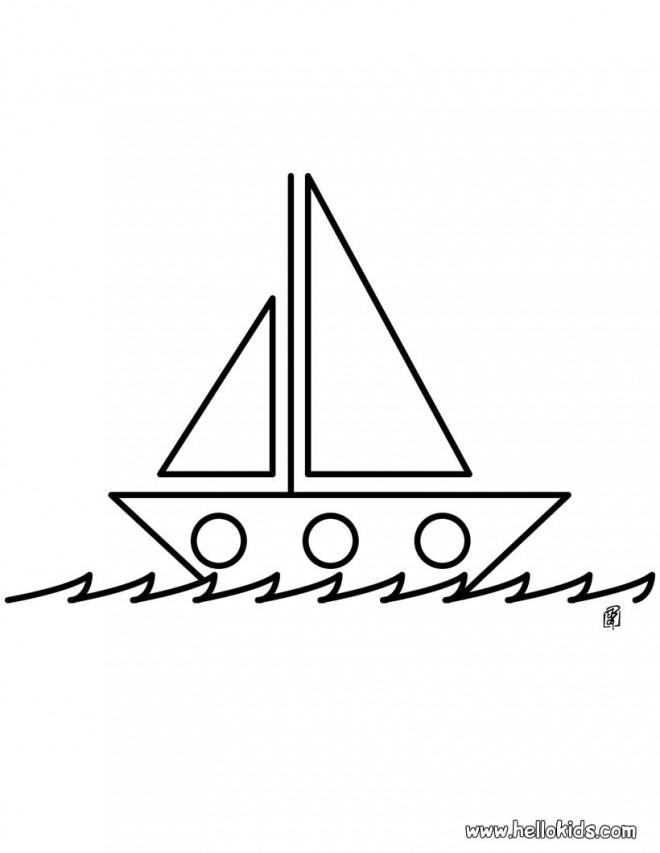 Coloriage et dessins gratuits Bateau à voile stylisé à imprimer