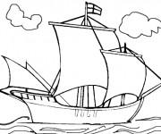 Coloriage et dessins gratuit Bateau Anglais dans la Mer à imprimer