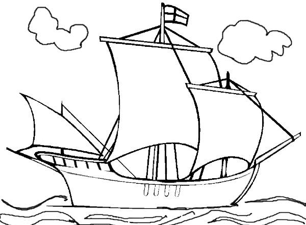 Coloriage et dessins gratuits Bateau Anglais dans la Mer à imprimer