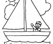 Coloriage et dessins gratuit Bateau pour enfant à imprimer