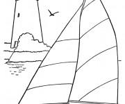 Coloriage et dessins gratuit La famille sur leur Bateau à imprimer