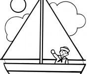 Coloriage et dessins gratuit Le marin dans son bateau à voile à imprimer
