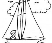 Coloriage et dessins gratuit Le petit marin navigue son navire à imprimer