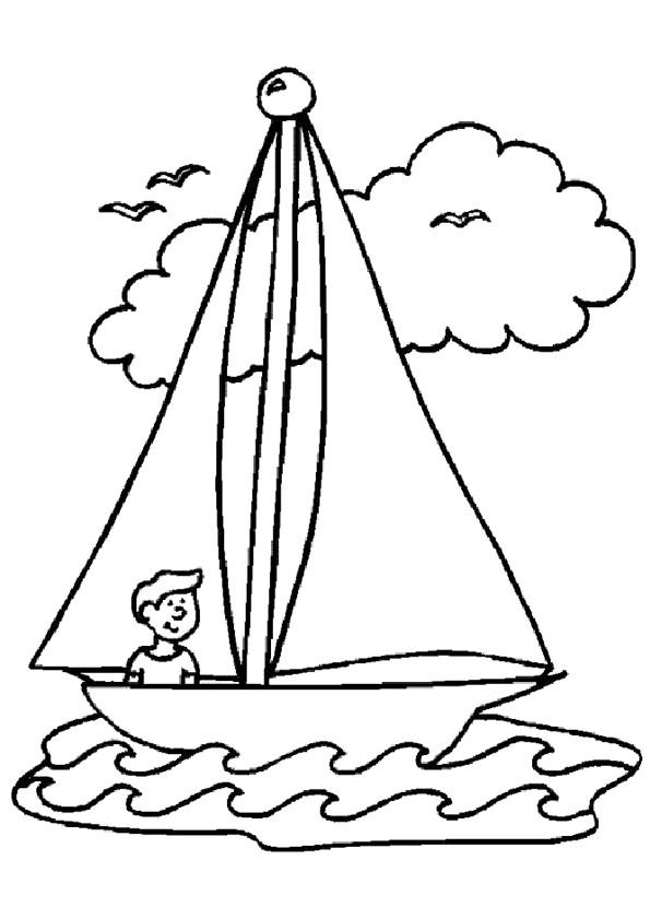 Coloriage et dessins gratuits Le petit marin navigue son navire à imprimer