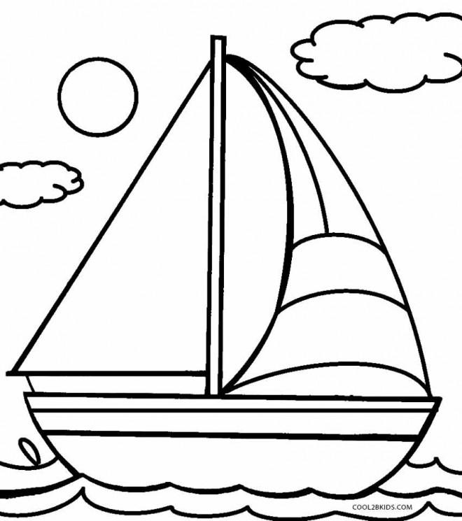 Coloriage et dessins gratuits Paysage de Voilier sur la mer à imprimer