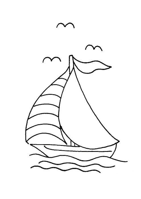 Coloriage petit bateau voile dans la mer - Dessin petit bateau ...