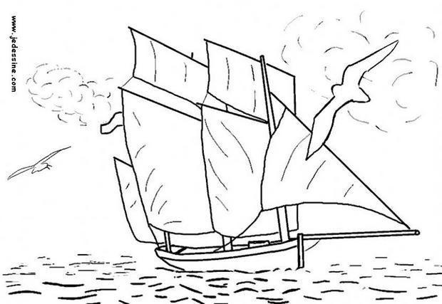 Coloriage et dessins gratuits Sortie Voilier en mer à imprimer
