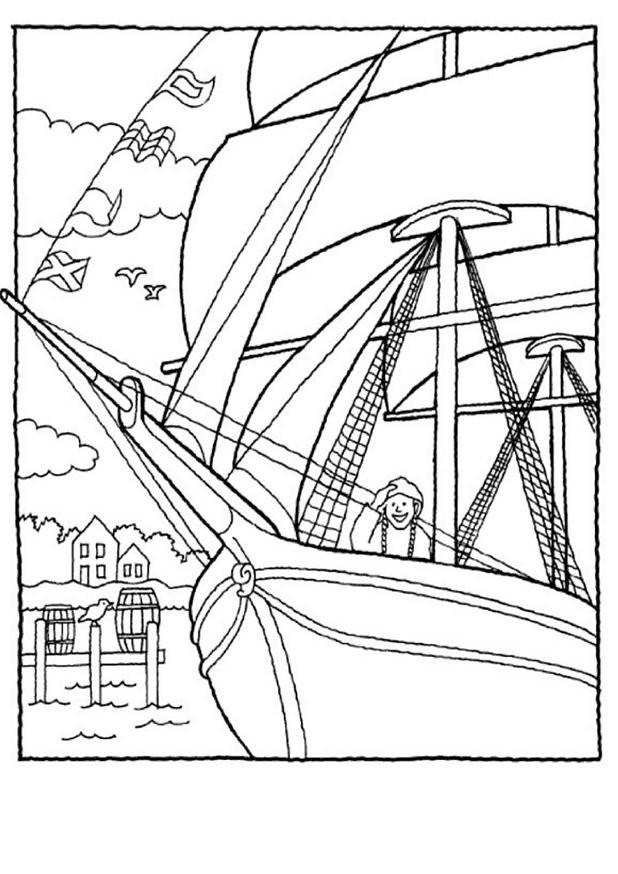 Coloriage et dessins gratuits Un marin sur un Voilier ancien à imprimer