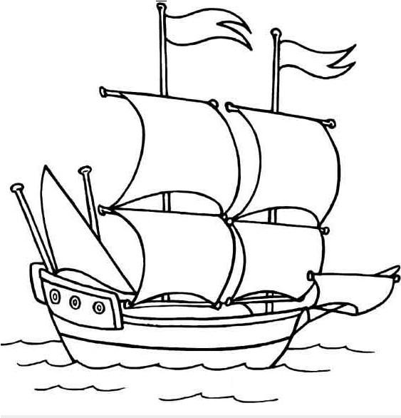 Coloriage et dessins gratuits Voilier Pirate à imprimer