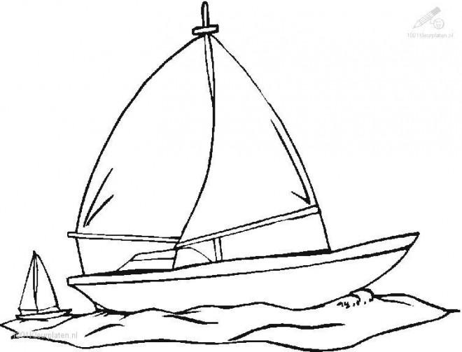 Coloriage et dessins gratuits Voilier sur la mer à imprimer