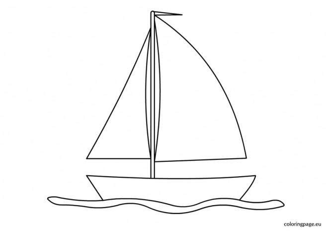 Coloriage et dessins gratuits Voilier sur la surface de la mer à imprimer