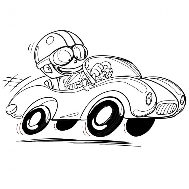 Coloriage enfant conduit sa voiture de course dessin gratuit imprimer - Dessiner voiture de course ...