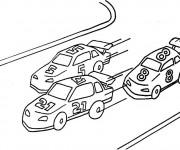Coloriage et dessins gratuit Paysage de course de Voiture à imprimer
