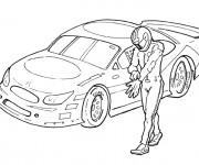 Coloriage Pilote devant voiture de course
