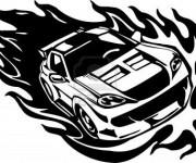 Coloriage et dessins gratuit Voiture de Course en Flamme à imprimer
