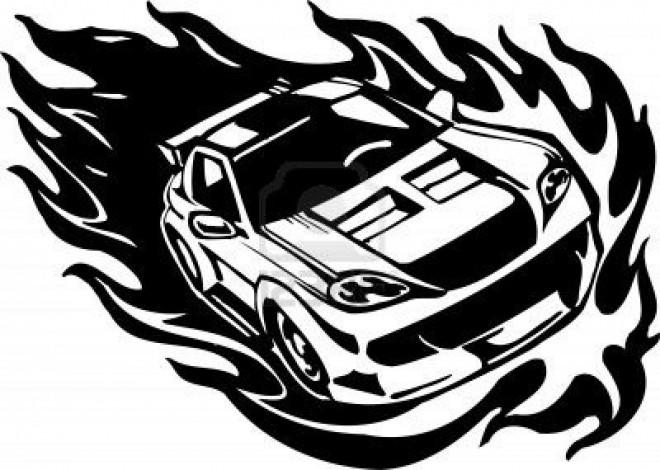 Coloriage voiture de course en flamme dessin gratuit imprimer - Voiture de sport a colorier ...