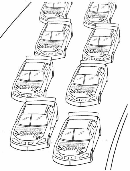 Coloriage et dessins gratuits Voitures de Course Nascar au départ à imprimer