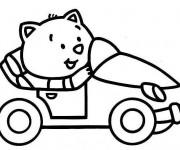 Coloriage et dessins gratuit Chat et Voiture pour enfant à imprimer