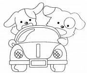 Coloriage et dessins gratuit Chiots dans leur voiture à imprimer
