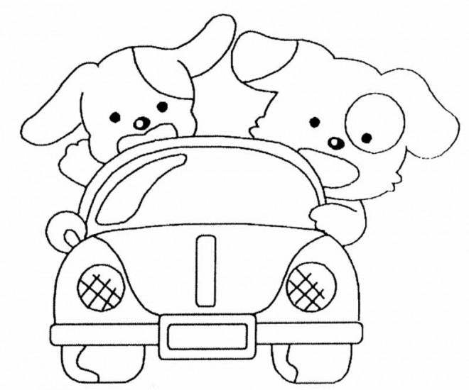 Coloriage et dessins gratuits Chiots dans leur voiture à imprimer