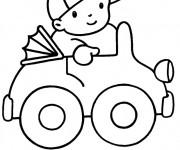 Coloriage et dessins gratuit Enfant conduit sa Voiture jouet à imprimer