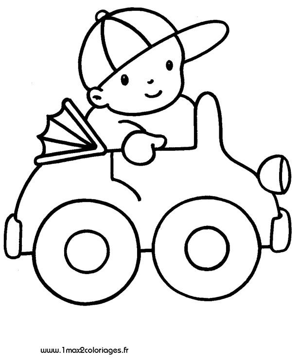Coloriage et dessins gratuits Enfant conduit sa Voiture jouet à imprimer