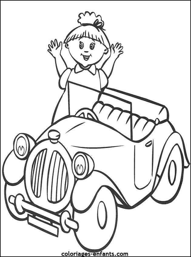 Coloriage et dessins gratuits Fille et sa petite Voiture à imprimer