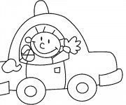 Coloriage et dessins gratuit L'enfant mignon dans sa Voiture à imprimer