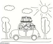 Coloriage et dessins gratuit La famille en Voiture à imprimer