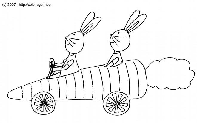 Coloriage et dessins gratuits Lapins dans leur voiture drôle à imprimer