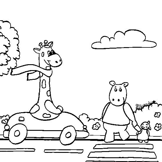 Coloriage et dessins gratuits Les animaux dans la Voiture à imprimer