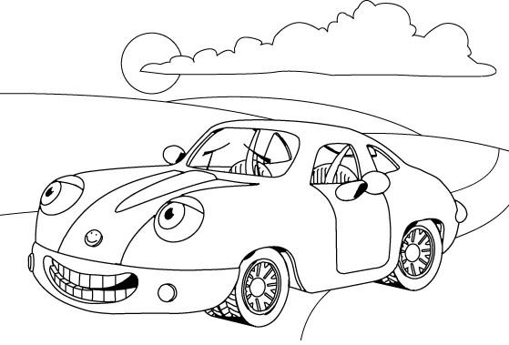 Coloriage et dessins gratuits Une Voiture comique en plein air à imprimer