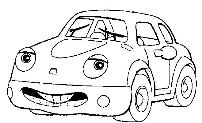 Coloriage et dessins gratuits Voiture avec un visage à imprimer