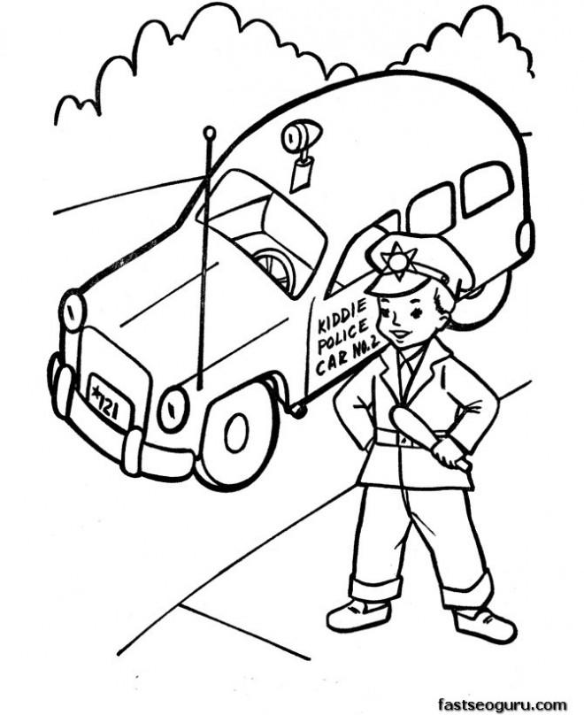 Coloriage et dessins gratuits Voiture de police et Enfant à imprimer
