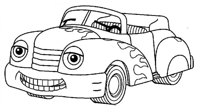 Coloriage voiture d capotable souriante dessin gratuit imprimer - Image de cars a colorier ...