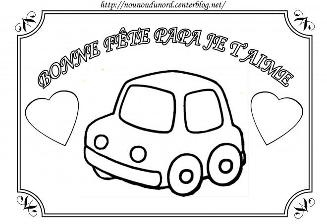 Coloriage et dessins gratuits Voiture en carte de voeux à imprimer