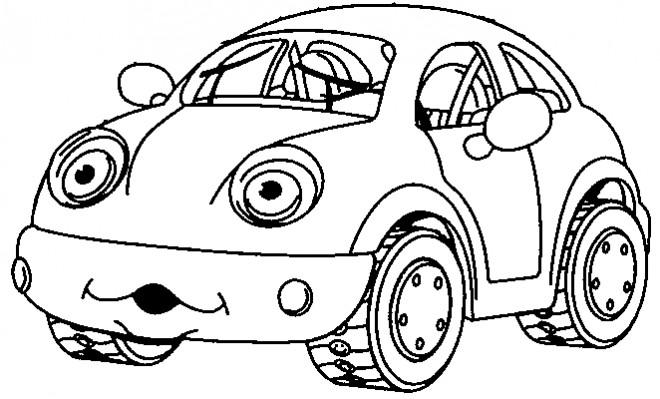 Coloriage et dessins gratuits Voiture Enfant humoristique à imprimer