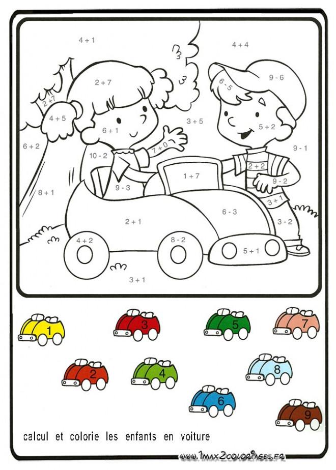 Coloriage et dessins gratuits Voiture et Enfants à colorier à imprimer
