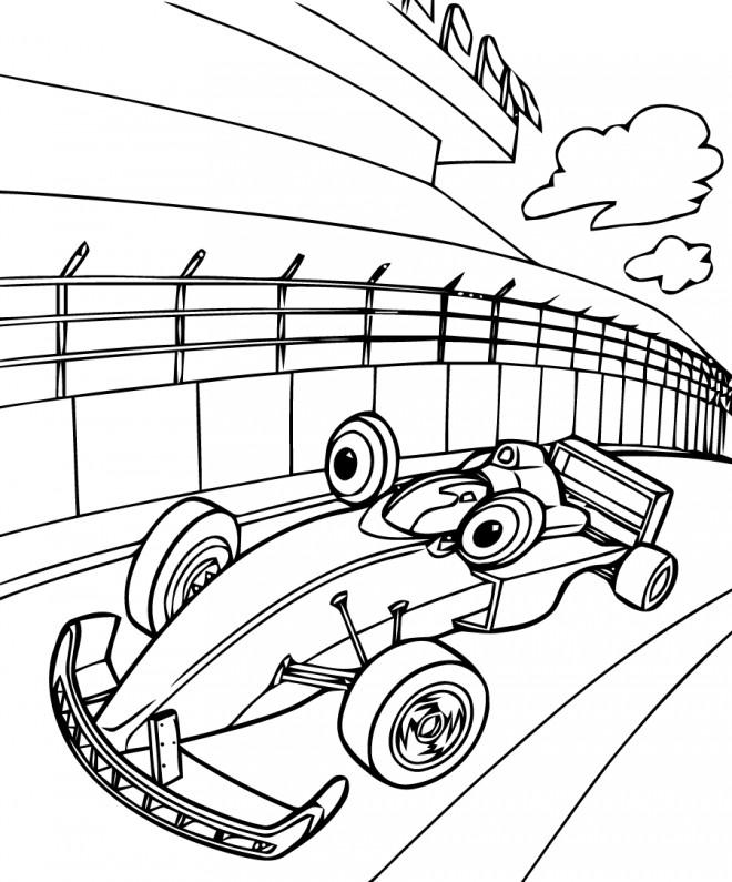 Coloriage et dessins gratuits Voiture Formule 1 humoristique à imprimer