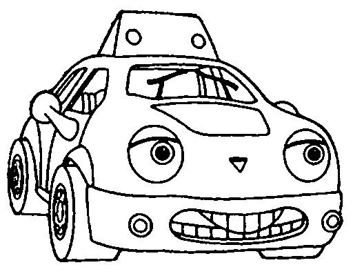 Coloriage et dessins gratuits Voiture Taxi qui sourit à imprimer