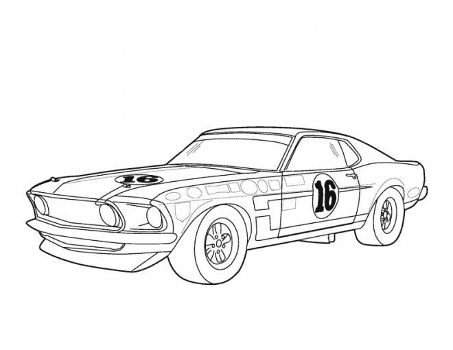 Coloriage Voiture De Course Mustang Dessin Gratuit à Imprimer
