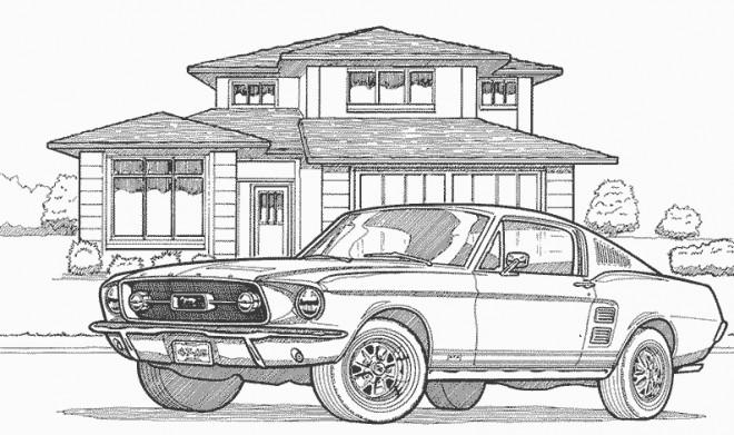 Coloriage et dessins gratuits Voiture derrière une maison à imprimer