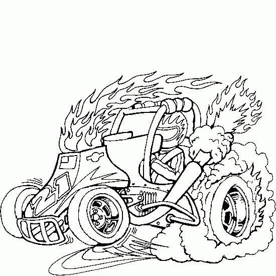 Coloriage et dessins gratuits Voiture enflammée à imprimer