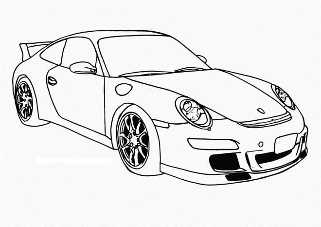 Coloriage Auto de course Porsche Panamera dessin gratuit à imprimer