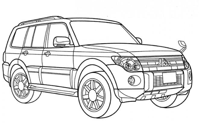 Coloriage et dessins gratuits Voiture 4×4 Mitsubishi à imprimer