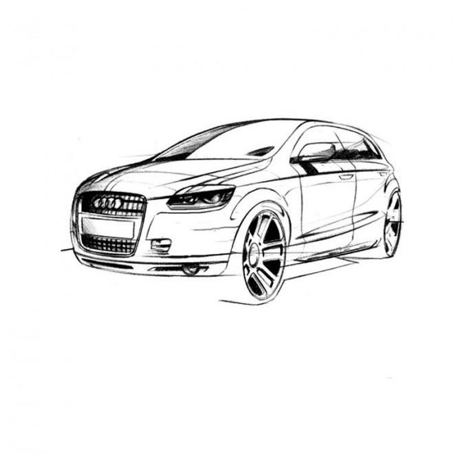 Coloriage et dessins gratuits Voiture Audi vecteur à imprimer
