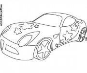 Coloriage Voiture décorée avec des étoiles