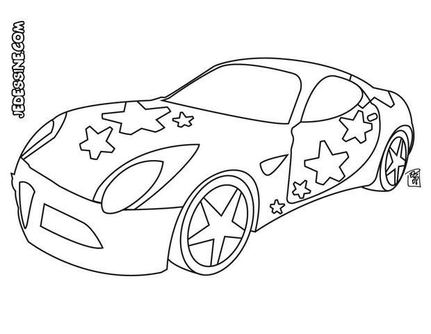 Coloriage et dessins gratuits Voiture décorée avec des étoiles à imprimer
