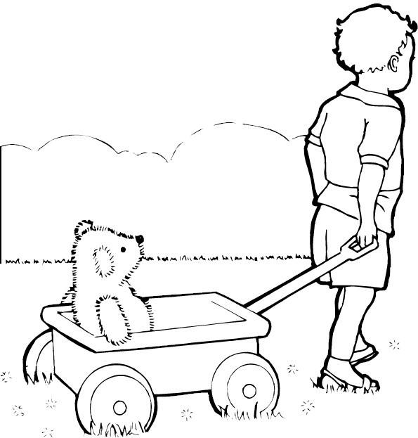 Coloriage et dessins gratuits Enfant et Wagon à imprimer